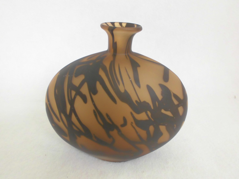 design vase dekovase rundvase designvase braun mit schwarzen designstreifen 20cm. Black Bedroom Furniture Sets. Home Design Ideas